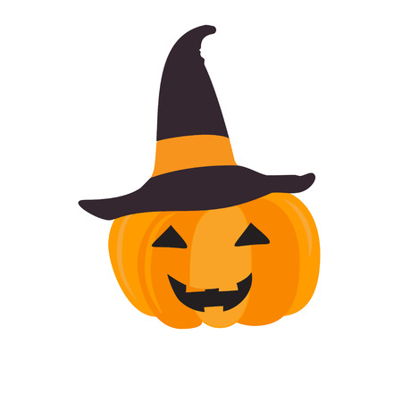 frightful: Halloween pumpkin with black witch hat. Abstract vector symbol of halloween isolated on white.