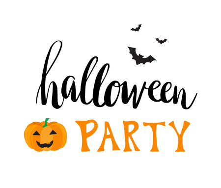 flying bats: Halloween party vector greeting card. Hant written text Halloween party with flying bats and smiling pumpkin.