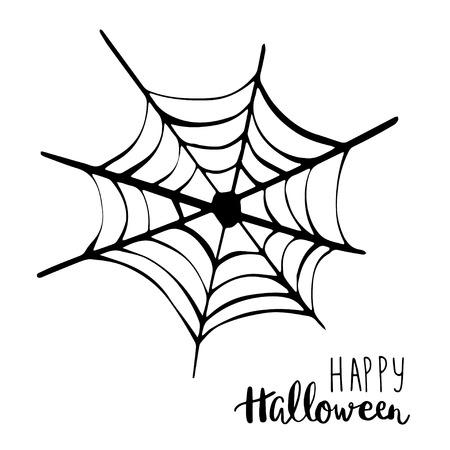 spider  net: Black spider net icon. Happy Halloween text. Holiday vector background Illustration