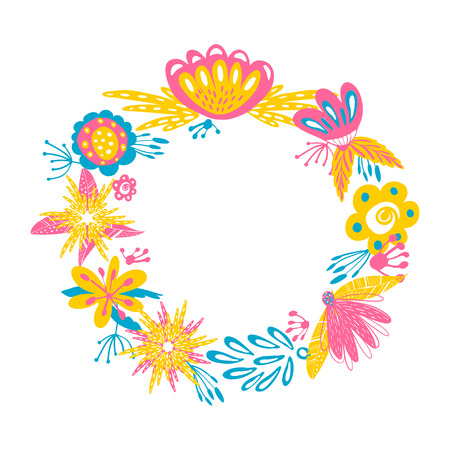 Vector Floral Wreath. Abstract design with doodle hand drawn flowers frame. Can be used as wedding invitation, greeting card and save the date card