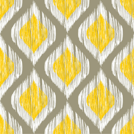 Yellow, white and grey rhomb seamless pattern in native ikat style. Traditional middle east and african ethnic background for textile, web and print design Illustration