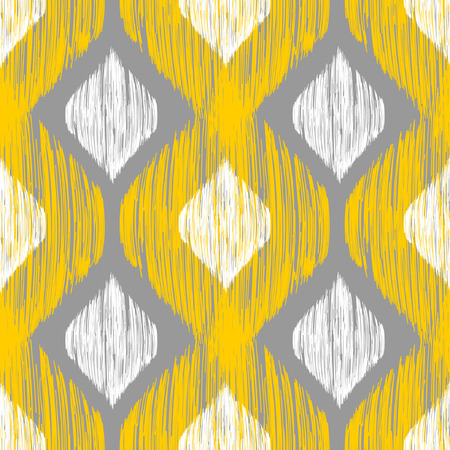 yellow african: Yellow, white and grey rhomb seamless pattern in native ikat style. Traditional middle east and african ethnic background for textile, web and print design Illustration