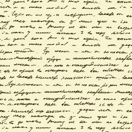 Patrón sin fisuras con el texto de escritura a mano. Resumen ilegible el texto marrón en el fondo beige.