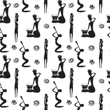 ethnical: Seamless pattern with beautiful African women with vases, fife and drums. Black and white pattern. Native ethnical seamless background