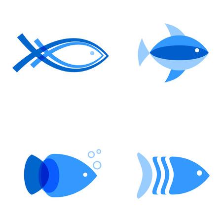 Illustrazione vettoriale di blu colori pesci. Logo astratto pesce impostato per ristorante di pesce, società marino, o pescheria Archivio Fotografico - 63810793