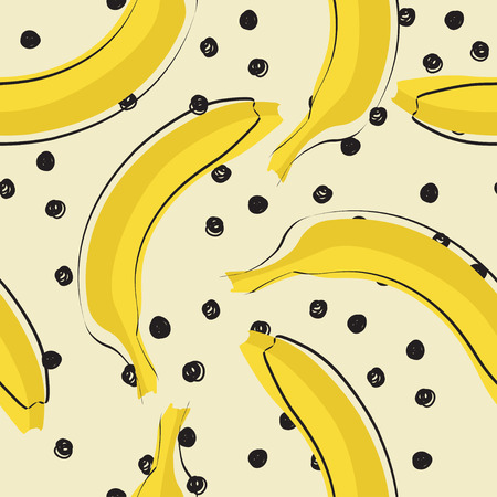 Seamless stylish pattern with fresh yellow bananas in flat style. Bananas pattern for cloth, textile, wrap, tshirt, bermudas and other design Ilustração
