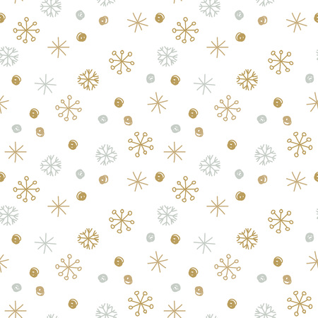 parer: Vector Seamless Winter Pattern Background with Sikver and Gold Snowflakes. Can be used for textile, parer, scrapbooking, wrapping, web and print design