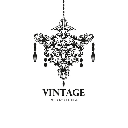 Black chandelier silhouette. Vintage style Logotype for your business. Logo design