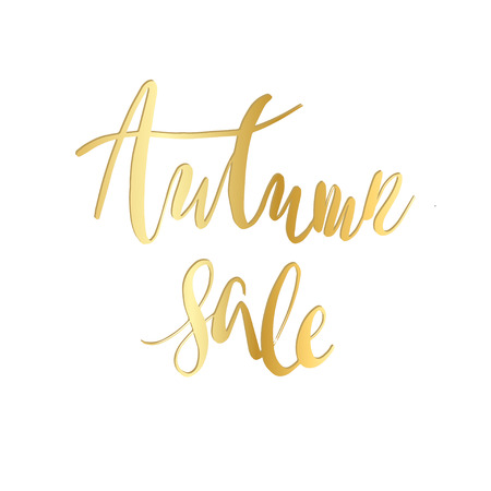 Autumn Sale Hand Written lettering Design Template. Abstract Typography Vector Background. Golden calligraphy text on white background.