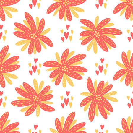 Seamless vector background. Beautiful abstract flowers in pink, yellow and white colors. Illustration