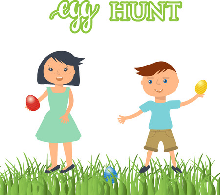 easter egg hunt: A vector illustration of kids on  Easter egg hunt. Cute boy and girl with eggs in their hands