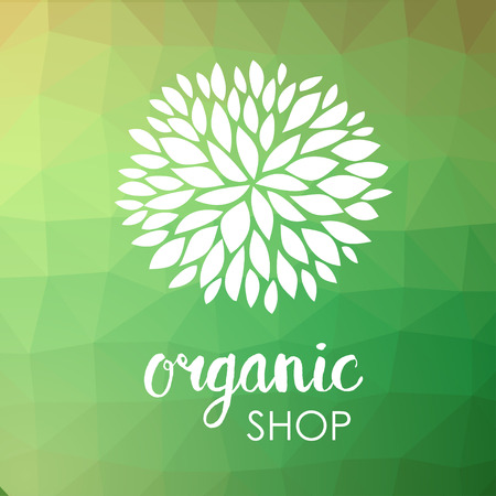 centered: Floral logo. White flower on low poly green triangle pattern. Green life and organic ornamental concept. Can be used for organic shop or spa and beauty salon, yoga studio and hearthy clinic.
