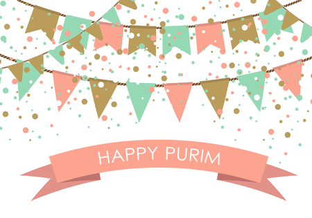 purim carnival party: Purim holiday card or banner design. Flag garlands and confetti on white background. Design for  purim carnival. Illustration