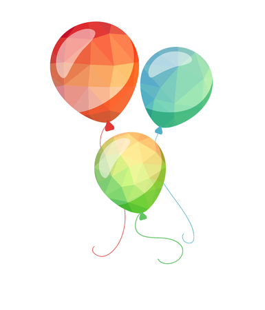 red balloons: Low Poly holiday balloons greeting card. Red blue and green vector balloons
