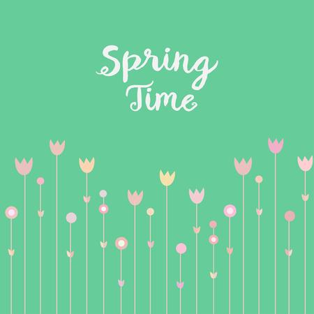 springtime: Springtime pink flowers on mint green background. Simple and cure card design, vector illustration. Illustration