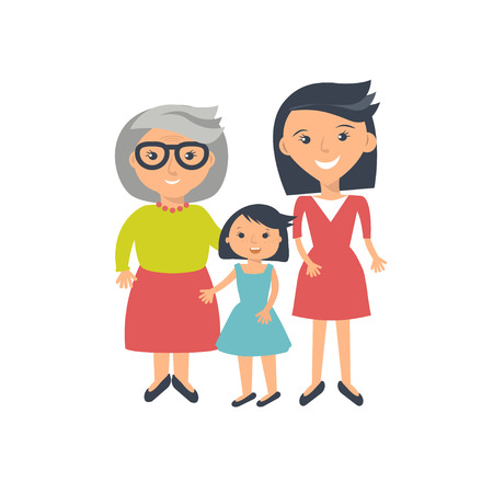 Illustration of three ages of women from child to senior. Three womans - mother, dauther and grandmother isolated on white