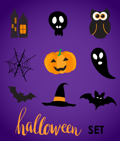 vynil: Collection of halloween stickers for your design. Hat, owl, ghost, web, bat, pumpkin, castle symbols. Stickers or vynil labels design