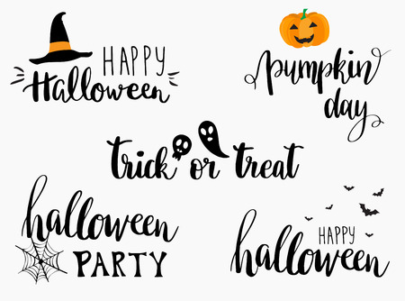 Halloween lettering phrases set. Halloween greeting card Calligraphy. Halloween banner or poster. Trick or treat lettering. Pumpkin day. Halloween party.
