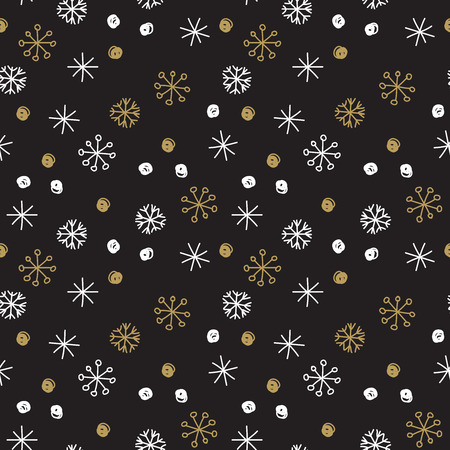 parer: Vector Seamless Winter Pattern Background with White and Gold Snowflakes on Black Background. Can be used for textile, parer, scrapbooking, wrapping, web and print design Illustration
