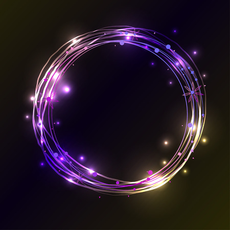 fluorescence: Abstract light circles background. Blue and violet light frame with place for your text