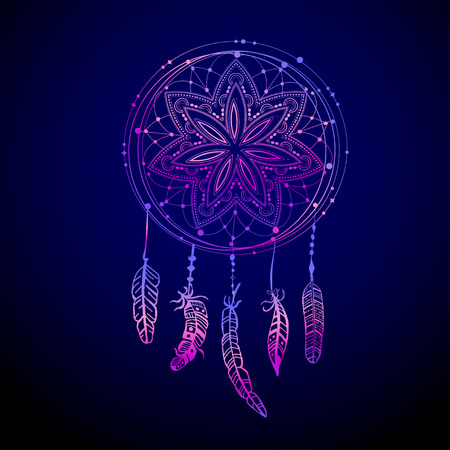 Abstract glowing dreamcatcher in blue and pink colors. Luminescence vector illustration. Boho style background, ethnic design element for flyers, covers, tshirts, clothing, print and web