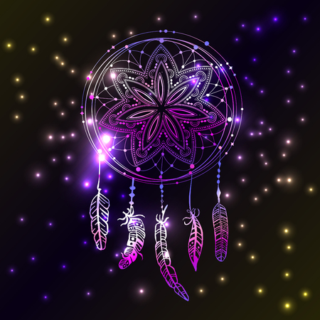 phosphorescence: Abstract glowing dreamcatcher in blue and pink colors. Luminescence vector illustration. Boho style background, ethnic design element for flyers, covers, tshirts, clothing, print and web