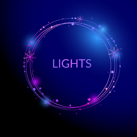 phosphorescence: Abstract light circles background with small flowerd and lights. Vector illustration.