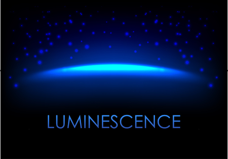 phosphorescence: Blue luminescence abstract background with empty space for your design. Galaxy or universe vector illustration with stardust.