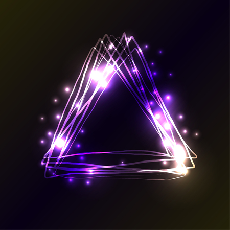 fluorescence: Violet and blue neon colors triangle background. Triangle Frame with Lights and flashes effects. Vector illustration, abstract background. Illustration