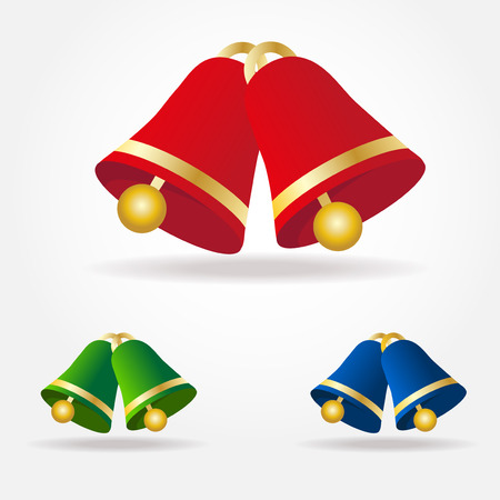 Set of vector Christmas bells. Green, red and blue bells with golden elements isolated on white background.