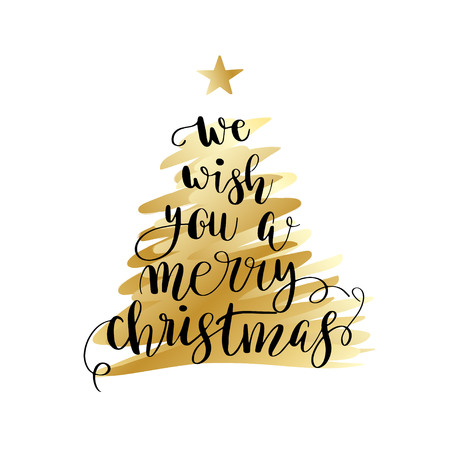 We wish you a merry christmas. Christmas poster or greeting card design. Calligraphy lettering quote on gold Christmas tree. Ilustracja