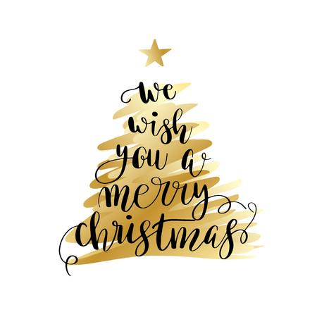 Wir wünschen dir frohe Weihnachten. Weihnachtsplakat oder Grußkarte Design. Kalligraphiebeschriftungszitat auf Goldweihnachtsbaum.