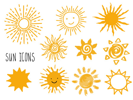 Hand drawn vector set of different suns icons isolated on white. Doodle sun smiling faces. Can be used for stikers, banner, cards, web, social media, label or badges.