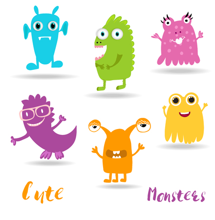 Cute Cartoon Monsters set. Kids illustration. Boy and girl clothing, textile, posters, books and notebooks design monsters elements