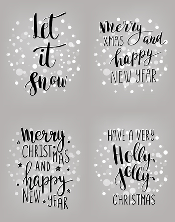 Set Of Hand Calligraphic Cards With Winter Holidays Quotes And ...