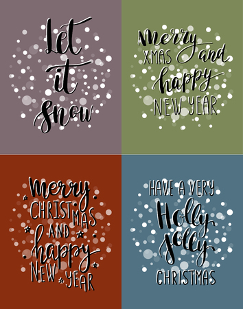 let it snow: Set of hand calligraphic cards with winter holidays quotes and phrases: Let it snow, Merry Christmas, Have a very holly jolly christmas, Merry christmas and happy New year.
