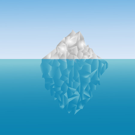 Polygonal iceberg in the sea. Low poly design. Polygon background. Grey and blue iceberg up and under the water Illustration