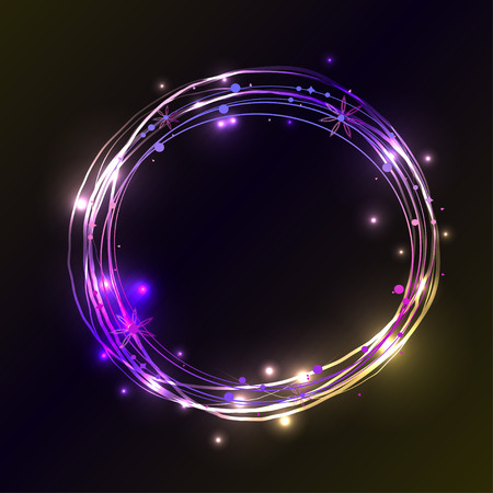 fluorescence: Abstract light circles background. Vector illustration. Blue and violet light frame with place for your text Illustration