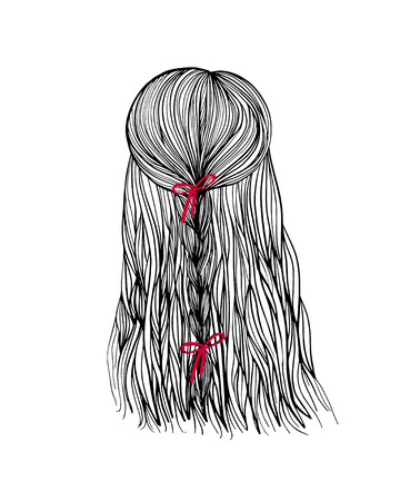 woman back of head: Woman head back view with bride hair and red boe. Hand-drawn cartoon hairdressing sketch. Doodle drawing. Vector illustration. Illustration