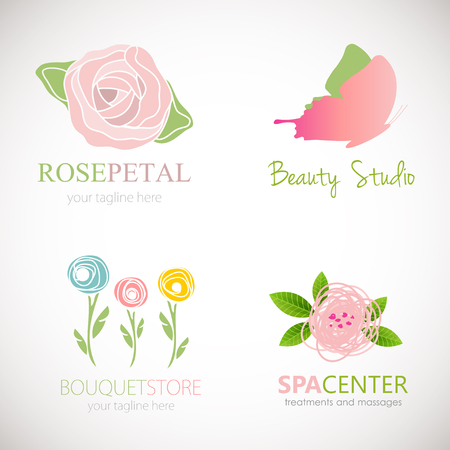 Set of four abstract floral designs Logo design for flower shop, beauty salon, massage clinic or yoga center