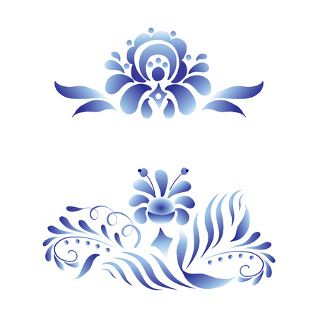 Blue and white floral elements set in russian gzhel style. Folk vector decoration with flowers and leaves for web and print design. Illustration