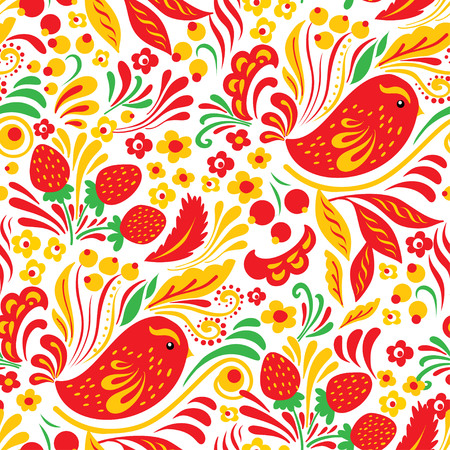 Russian national folk seamless pattern Hohloma. Yellow and red flowers, birds and berries on white background.