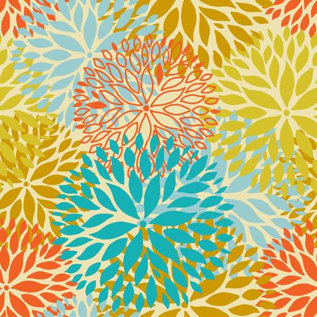 aster: Orange and blue flower seamless pattern. Chrisanthemum flowers background for web, print, textile, wallpaper design
