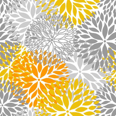 Naranja y gris flor de patrones sin fisuras. Fondo de flores de Chrisanthemum para web, impresión, textil, diseño de fondo de pantalla