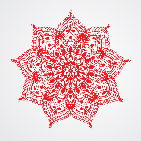 Red Mandala on white background. Hand drawn vector illustration. Islamic, Arabic, Indian, ottoman motifs. Can be used for textile design, yoga studio symbol, bed lining, tote bag, towel ornament.