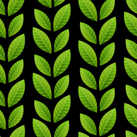 Green leaves on black background. Vector seamless pattern. Can be used for web, print, textile, wallpapers, clothing Illustration