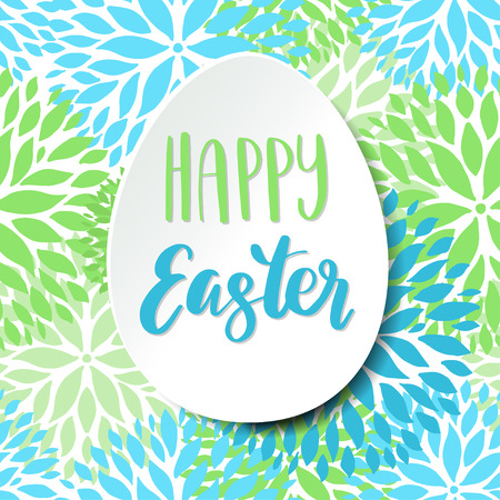 Happy Easter card. White paper egg and lettering phrase on floral seamles pattern Illustration