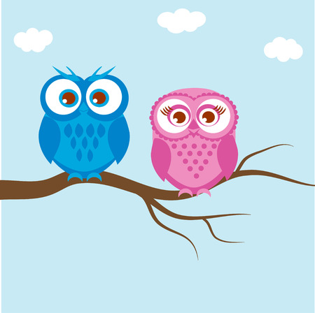 Greeting card with two lovely owls on a tree branch Owls couple, family on blue background