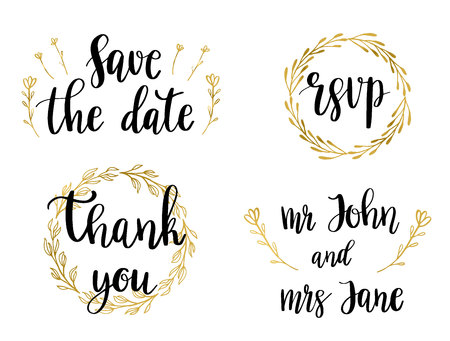 Wedding Set of lettering quotes and phrases. Vector illustration of black text in golden wreaths Ilustração