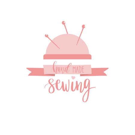 sewer: Needle bar icon. Flat illustration of needle bar with needles and hand lettering text. Sewing studio logotype design. Vector icon in retro styl and colors